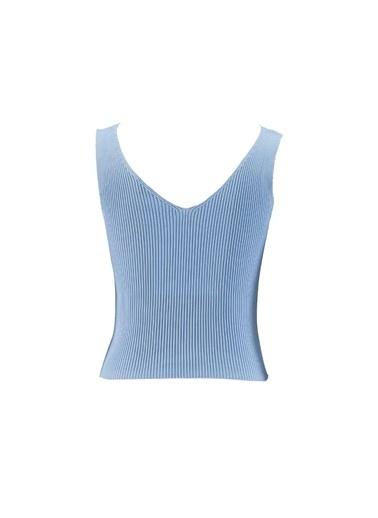 Setre Beyaz V Yaka Triko Mavi